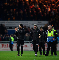 Lincoln City manager Danny Cowley, left, and Lincoln City's assistant manager Nicky Cowley applaud the fans at the final whistle<br /> <br /> Photographer Chris Vaughan/CameraSport<br /> <br /> The EFL Sky Bet League Two - Mansfield Town v Lincoln City - Monday 18th March 2019 - Field Mill - Mansfield<br /> <br /> World Copyright © 2019 CameraSport. All rights reserved. 43 Linden Ave. Countesthorpe. Leicester. England. LE8 5PG - Tel: +44 (0) 116 277 4147 - admin@camerasport.com - www.camerasport.com