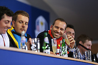 Sergio Garcia (EUR) sips on champagne at  the final European Team Press Conference after Sunday's Singles at the 2014 Ryder Cup from Gleneagles, Perthshire, Scotland. Picture:  David Lloyd / www.golffile.ie