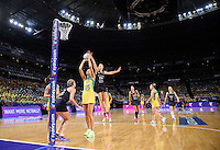 16.08.2015 Silver Ferns Katrina Grant and Australia's Caitlin Bassett in action during the Silver Ferns v Australia Gold Medal netball match at the 2015 Netball World Cup at All Phones Arena in Sydney Australia. Mandatory Photo Credit ©Michael Bradley.