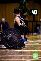 NZ's Cody Everson checks the shot clock during the 2017 International Wheelchair Rugby Federation Asia-Oceania Zone Championships tournament match between the New Zealand Wheel Blacks and Japan at ASB Stadium in Auckland, New Zealand on Thursday, 31 August 2017. Photo: Dave Lintott / lintottphoto.co.nz