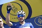 Race leader Elia Viviani (ITA) Quick-Step Floors at sign on before the start of Stage 5 The Meraas Stage final stage of the Dubai Tour 2018 the Dubai Tour&rsquo;s 5th edition, running 132km from Skydive Dubai to City Walk, Dubai, United Arab Emirates. 10th February 2018.<br /> Picture: LaPresse/Fabio Ferrari | Cyclefile<br /> <br /> <br /> All photos usage must carry mandatory copyright credit (&copy; Cyclefile | LaPresse/Fabio Ferrari)