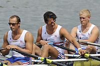 Amsterdam, NETHERLANDSS, GBR M4X. Bow. Oliver LEE, Stewart INNES, Jack HOCKLEY.  2011 FISA U23 World Rowing Championships, {dow}, {date} [Mandatory credit:  Intersport Images].
