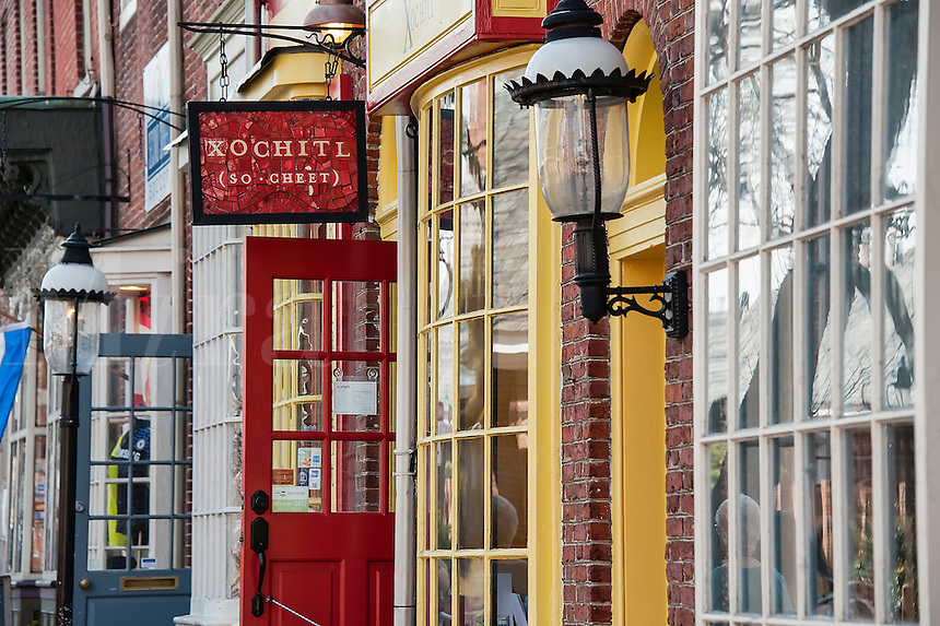 Shops in historic Head House Square, Philadelphia, Pennsylvania, USA
