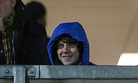 Singer Jake Bugg smiles as County take the lead during the Sky Bet League 2 match between Wycombe Wanderers and Notts County at Adams Park, High Wycombe, England on 15 December 2015. Photo by Andy Rowland.