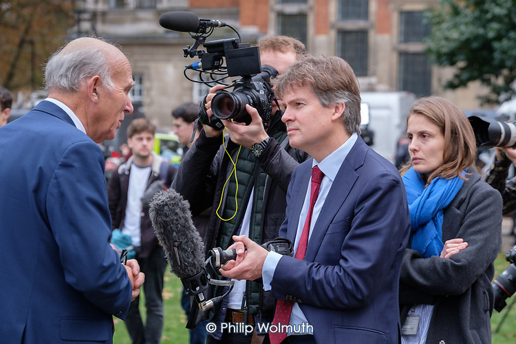 Vince Cable MP interviewed by BBC political editor Nick Watt on College Green, Westminster, London, on the day of four ministerial resignations over Brexit deal.