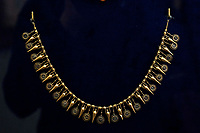 19th century jewels from the Castellani collection, stolen from Villa Giulia museum in Rome on 2013, on commission of a wealthy Russian woman, arrested at Fiumicino airport<br /> Rome May 3rd 2019. Quirinale Palace. Preview of the exhibition 'The art of rescuing art' , a collection of antique artworks, paintings, statues, jewelry and terracotta artefacts rescued from the command of Carabinieri for the protection of the cultural heritage in 50 years.  Many of these artworks were stolen on commission for private collections.<br /> Photo di Samantha Zucchi/Insidefoto