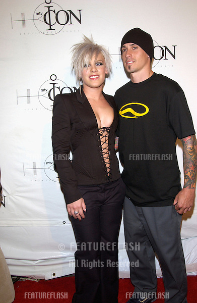 Pop star PINK & boyfriend at the mtvICON gala honoring Aerosmith, at Sony Studios, Los Angeles..14APR2002.