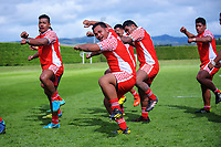 The Tonga team performs a haka after the international rugby match between  New Zealand Schools Barbarians and Tonga Schools at the Sport and Rugby Institute in Palmerston North, New Zealand on Thursday, 28 September 2017. Photo: Dave Lintott / lintottphoto.co.nz
