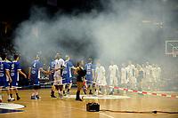 GRONINGEN - Basketbal, Donar - Landstede Zwolle, Martiniplaza,  Dutch Basketball League, seizoen 2017-2018, 12-11-2017,  veel rook bij presentatie spelers