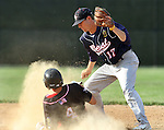 SIOUX FALLS, SD - JULY 1:  Justin Kautz #17 from Sioux Falls Post 15 West, watches as Nick Petersen #4 from Valley Springs slides safely into second during the fifth inning Monday night at Harmodon Park.  (Photo by Dave Eggen/Inertia)