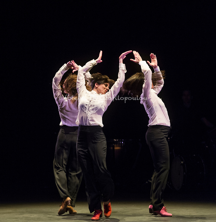 London, UK. 18.02.2018. Dramatist Pedro G. Romero and flamenco dancers Ursula López, Tamara López and Leonor Leal present Painter and Flamenco: J.R.T. as part of the Flamenco Festival London 2018 at Sadler's Wells Theatre, 18 Feb. Photo shows: Tamara López, Leonor Leal, Úrsula López. Photo - © Foteini Christofilopoulou.