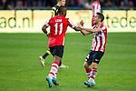 Nederland, Eindhoven, 25 oktober  2012.Europa League.Seizoen 2012-2013.PSV-AIK.Jeremain Lens van PSV juicht na het scoren van de 1-1 en wordt gefeliciteerd door Dries Mertens van PSV