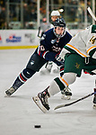 21 November 2017: University of Connecticut Huskies defenseman Miles Gendron in first period action against the University of Vermont Catamounts at Gutterson Fieldhouse in Burlington, Vermont. The Huskies defeated the Catamounts 4-1 in Hockey East play. Mandatory Credit: Ed Wolfstein Photo *** RAW (NEF) Image File Available ***
