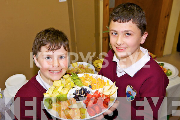 YUMMY: Kevin Rice and Christopher Murphy at the Glenderry NS health eating event at the school on Friday.
