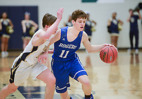 NWA Democrat-Gazette/CHARLIE KAIJO Rogers High School Elliot Paschal (11) dribbles during a basketball game, Friday, January 11, 2019 at Wolverine Arena at Bentonville West in Centerton.