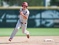 NWA Democrat-Gazette/CHARLIE KAIJO Arkansas infielder Jared Gates (3) runs to third during the second game of the NCAA super regional baseball, Sunday, June 10, 2018 at Baum Stadium in Fayetteville. Arkansas fell to South Carolina 5-8.