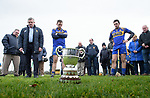 A minutes silence is held for the late Jack Lynch before the cup presentation at the Clare Champion Cup final at Clonlara. Photograph by John Kelly.
