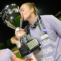 20190430 - OOSTAKKER , BELGIUM : Anderlecht's Justien Odeurs pictured celebrating after winning the Superleague Championship after a womensoccer game between  AA Gent Ladies and RSC Anderlecht Dames  , during play-off 1 in the Belgian Women's Superleague, at the PGB Stadium in Oostakker , tuesday 30 th April 2019 . PHOTO SPORTPIX.BE | DAVID CATRY