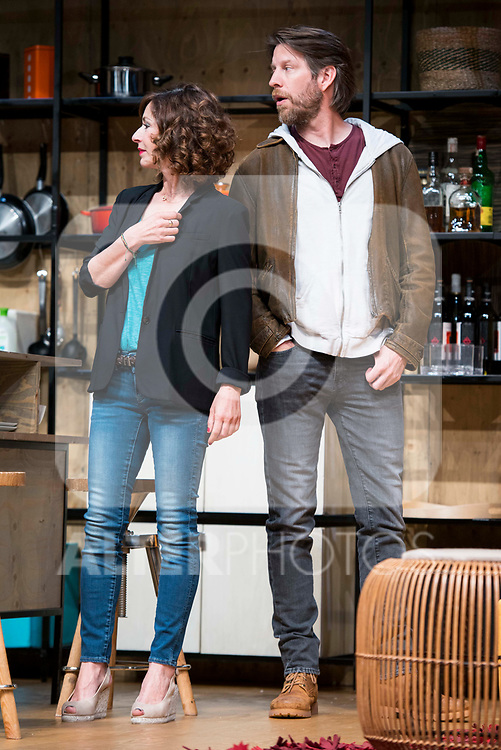 Maria Lanau and Andrew Tarbet during theater play of &quot;Los vecinos de arriba&quot; at Teatro Circulo de Bellas Artes in Madrid, April 25, 2017. Spain.<br /> (ALTERPHOTOS/BorjaB.Hojas)
