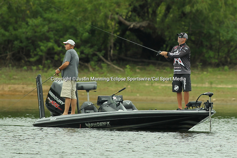 August 21, 2015: Brad Knight on day two of the Forrest Wood Cup on Lake Ouachita in Hot Springs, AR. Justin Manning/ESW/CSM