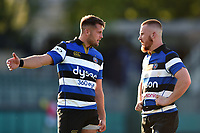 Josh Lewis and Rory Jennings of Bath United. Aviva A-League match, between Bath United and Saracens Storm on September 1, 2017 at the Recreation Ground in Bath, England. Photo by: Patrick Khachfe / Onside Images
