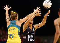 20.10.2015 Silver Ferns Grace Rasmussen in action during the Silver Ferns v Australian Diamonds netball test match played ay Horncastle Arena in Christchruch. Mandatory Photo Credit ©Michael Bradley.