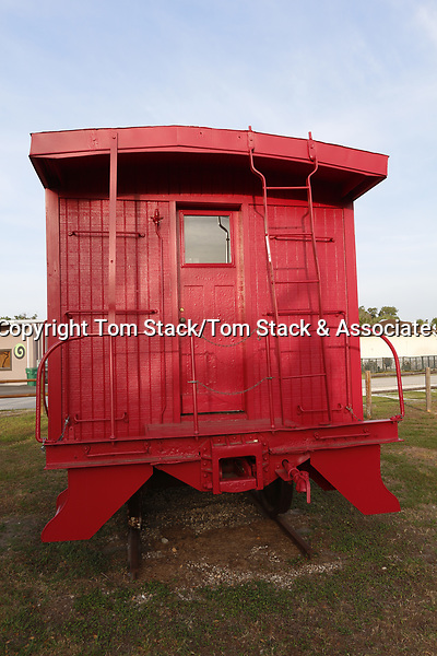 A vintage railroad caboose in Inverness Florida
