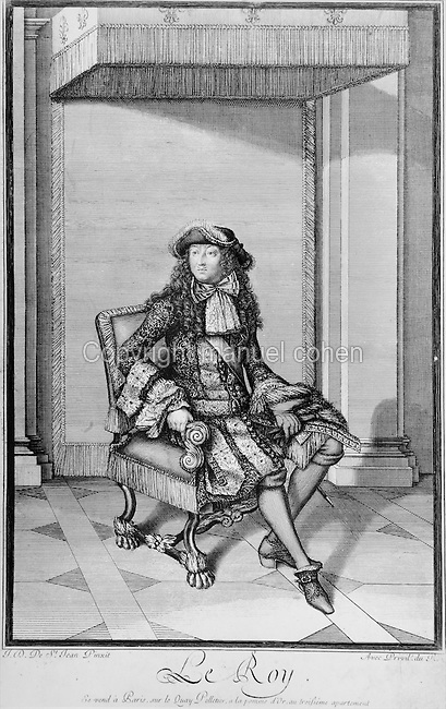Portrait of King Louis XIV, 1638-1715, seated on a chair in the Palace of Versailles, late 17th century engraving by J D de Saint Jean Pinxit<br /> after a work by Jean Dieu de Saint Jean Delin. Copyright &copy; Collection Particuliere Tropmi / Manuel Cohen