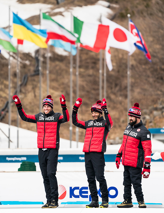 PyeongChang 18/3/2018 - Brian McKeever, with guides Russell Kennedy (pictured)  Graham Nishikawa, and Collin Cameron take the bronze in the open relay cross country race at the Alpensia Biathlon Centre during the 2018 Winter Paralympic Games in Pyeongchang, Korea. Photo: Dave Holland/Canadian Paralympic Committee