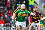 Philip Lucid, Kerry, in action against Aidan Nolan, Wexford, National Hurling League, Division 1B, Round 3, at Austin Stack Park, Tralee, on Sunday.