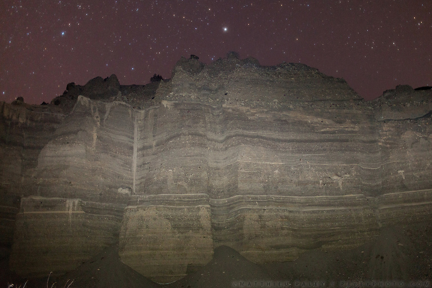 Night exposure, the sandy cliffs above Boraq..Trekking up to the Little Pamir with yak caravan over the frozen Wakhan river.