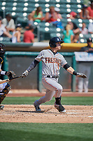Colin Walsh (1) of the Fresno Grizzlies bats against the Salt Lake Bees at Smith's Ballpark on September 4, 2017 in Salt Lake City, Utah. Fresno defeated Salt Lake 9-7. (Stephen Smith/Four Seam Images)