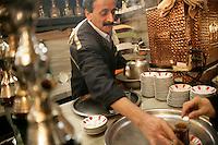 Turkish tea in the Corlulu Ali Pasha Medresesi in Beyazit, Istanbul, Turkey