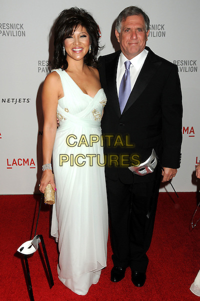 "JULIE CHEN & LES MOONVES .LACMA's ""The Unmasking"" of the Lynda & Stewart Resnick Exhibition Pavilion Opening Gala held at the Los Angeles County Museum of Art, - Los Angeles, California, USA, 25th September 2010..full length white dress blue tie black suit shirt one shoulder strap long maxi couple married husband wife .CAP/ADM/BP.©Byron Purvis/AdMedia/Capital Pictures."