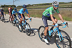 The peloton including Green Jersey Alejandro Valverde (ESP) Movistar Team in action during Stage 17 of the La Vuelta 2018, running 186.1km from Ejea de los Caballeros to Lleida, Spain. 13th September 2018.                   <br /> Picture: Unipublic/Photogomezsport | Cyclefile<br /> <br /> <br /> All photos usage must carry mandatory copyright credit (&copy; Cyclefile | Unipublic/Photogomezsport)