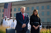 United States President Donald J. Trump and first lady Melania Trump participate in a moment of silence at a ceremony at the Pentagon during the 18th anniversary commemoration of the September 11 terrorist attacks, in Arlington, Virginia on Wednesday, September 11, 2019. <br /> Credit: Kevin Dietsch / Pool via CNP /MediaPunch