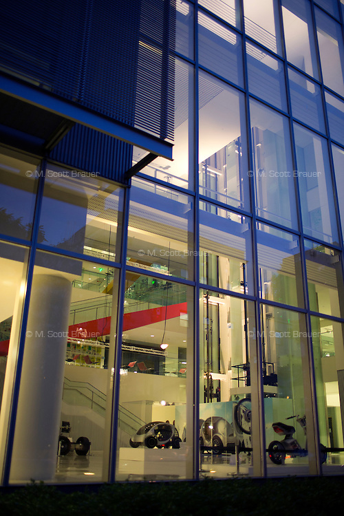 A view of the lobby of MIT's Media Lab in Cambridge, Massachusetts, USA.