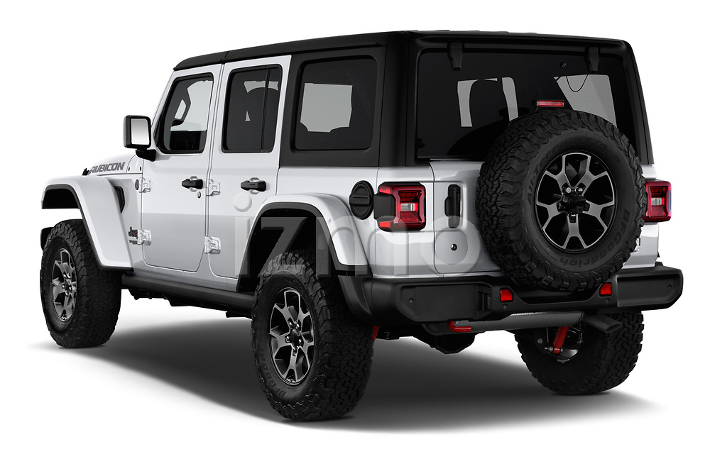 Car pictures of rear three quarter view of a 2018 Jeep Wrangler-Unlimited Rubicon 5 Door SUV angular rear