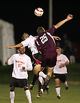 1 November 2006: Boston College's Sam Brill (25) and Maryland's Graham Zusi (leaping, left). Maryland defeated Boston College 1-0 in double overtime at the Maryland Soccerplex in Germantown, Maryland in an Atlantic Coast Conference college soccer tournament quarterfinal game.