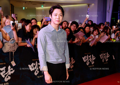 Yuchun(JYJ), Jul 21, 2014 : South Korean actor and singer Yu-chun, a member of boy band, JYJ, attends a red carpet event before a VIP preview of a new South Korean movie, Roaring Currents, in Seoul, South Korea. (Photo by Lee Jae-Won/AFLO) (SOUTH KOREA)