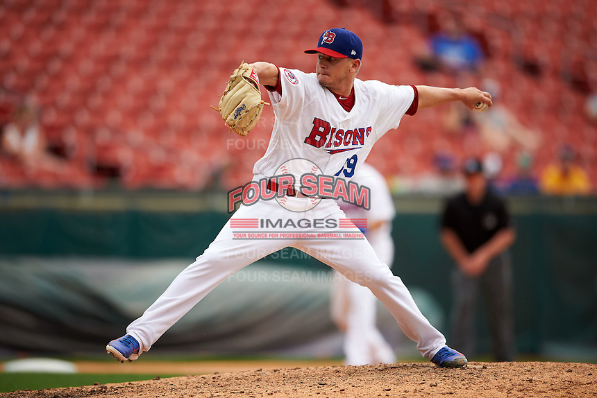 Buffalo Bisons pitcher Rob Rasmussen (59) delivers a pitch during a game against the Columbus Clippers on July 19, 2015 at Coca-Cola Field in Buffalo, New York.  Buffalo defeated Columbus 4-3 in twelve innings.  (Mike Janes/Four Seam Images)