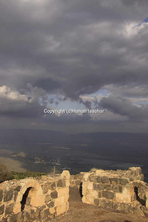 Israel, Lower Galilee, Crusader fortress Belvoir overlooking the Jordan Valley