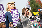 United States House Minority Leader Nancy Pelosi (Democrat of California) speaks during a rally led by United States Congressional Democrats against United States President Donald J. Trump's proposed tax plan outside the United States Capitol in Washington, D.C. on November 1st, 2017.<br /> Credit: Alex Edelman / CNP