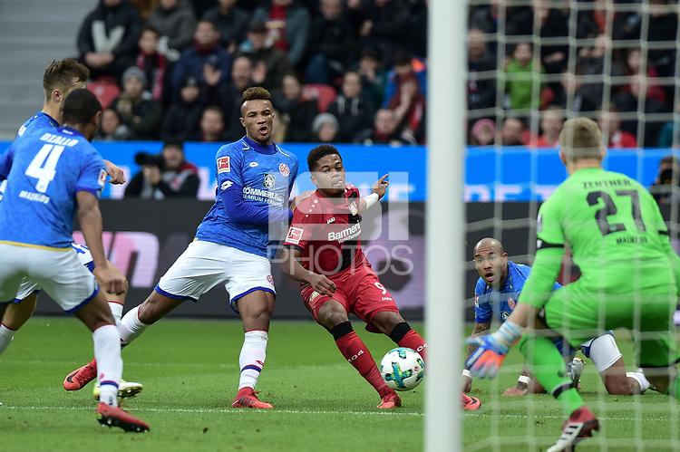 Football : Germany -1. Bundesliga  2017/18 <br /> Bayer Leverkusen 04 vs Mainz <br /> 28/01/2018 - Jean-Philippe Gbamin (FSV Mainz 05), Leon Bailey ( Bayer 04 Leverkusen), Nigel Dejong  (FSV Mainz 05), Robin Zentner (FSV Mainz 05) *** Local Caption *** &copy; pixathlon<br /> Contact: +49-40-22 63 02 60 , info@pixathlon.de
