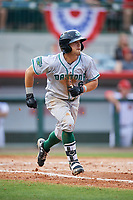 Daytona Tortugas left fielder TJ Friedl (6) runs to first base during a game against the Florida Fire Frogs on April 7, 2018 at Osceola County Stadium in Kissimmee, Florida.  Daytona defeated Florida 4-3 in a six inning rain shortened game.  (Mike Janes/Four Seam Images)