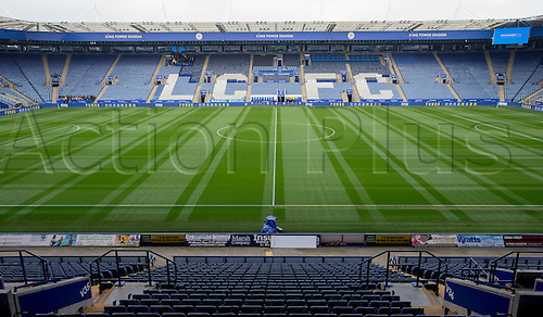 03.04.2016. King Power Stadium, Leicester, England. Barclays Premier League. Leicester versus Southampton.  View of the pitch and stands from the centre line.