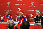 19 November 2010: A press conference was held after training with head coach Schellas Hyndman (left), Daniel Hernandez, and Kevin Hartman (right). FC Dallas held a practice at Toronto, Ontario, Canada as part of their preparations for MLS Cup 2010, Major League Soccer's championship game.