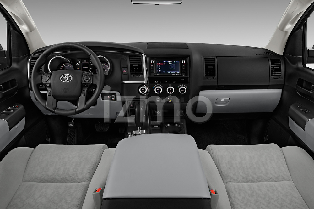 Stock photo of straight dashboard view of a 2018 Toyota Sequoia SR5 Auto 5 Door SUV