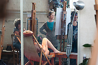 Reflections in the mirror, Life Drawing Class, Adult Learning Centre, Guildford, Surrey.