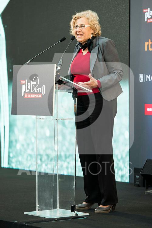 "Madrid Mayor Manuela Carmena attends to the presentation of the ""Premios Platino"" at Palacio de Cristal in Madrid. April 07, 2017. (ALTERPHOTOS/Borja B.Hojas)"